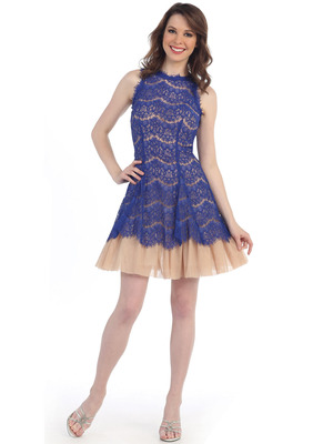 CN1397 Sleeveless Lace Overlay Tulle Fit and Flarel Dress, Royal Blue Nude