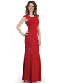 CN1400 Lace Panel Jersey Evening Dress - Red, Front View Thumbnail