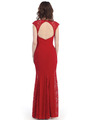 CN1400 Lace Panel Jersey Evening Dress - Red, Back View Thumbnail
