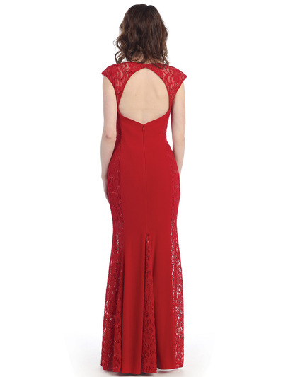 CN1400 Lace Panel Jersey Evening Dress - Red, Back View Medium