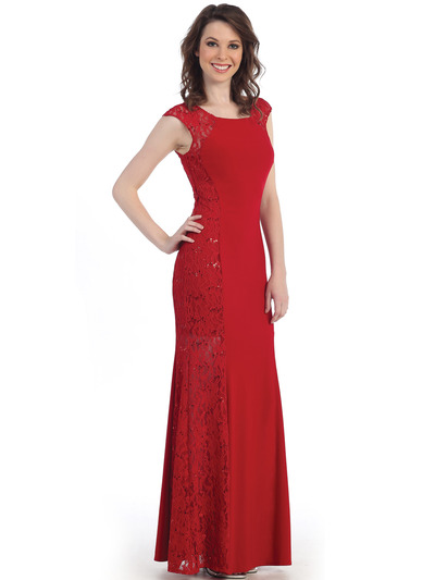 CN1400 Lace Panel Jersey Evening Dress - Red, Front View Medium