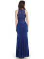 CN1401 Lace Overlay Sleeveless Evening - Royal Blue, Back View Thumbnail