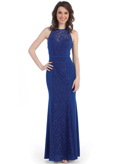 CN1401 Lace Overlay Sleeveless Evening - Royal Blue, Front View Medium