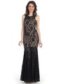 CN1402 Be Admired Lace Evening Dress - Black Nude, Front View Thumbnail
