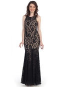 CN1402 Be Admired Lace Evening Dress, Black Nude