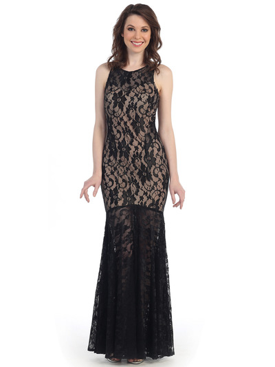 CN1402 Be Admired Lace Evening Dress - Black Nude, Front View Medium
