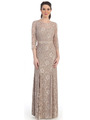 CN1404 Grace and Elegant 3/4 Sleeve Evening Gown - Taupe, Front View Thumbnail