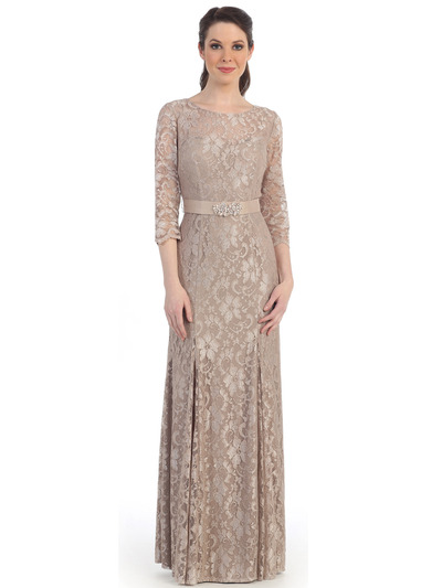 CN1404 Grace and Elegant 3/4 Sleeve Evening Gown - Taupe, Front View Medium