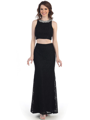 CN1405 Two Piece Lace Evening Dress, Black