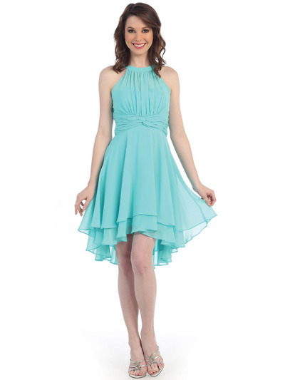 CN1407 High Neck Tiered Chiffon Cocktail Dress - Mint, Front View Medium