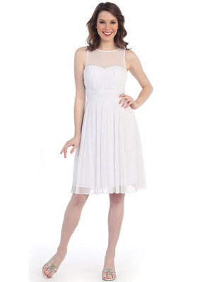 CN1408 Illusion Yoke Cocktail Dress, White