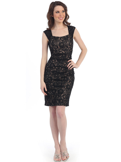 CN1410 Cap Sleeve Bodycon Cocktail Dress - Black Nude, Front View Medium
