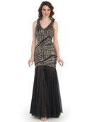 CN1412 Sequin Mermaid Formal Dress, Gold Black