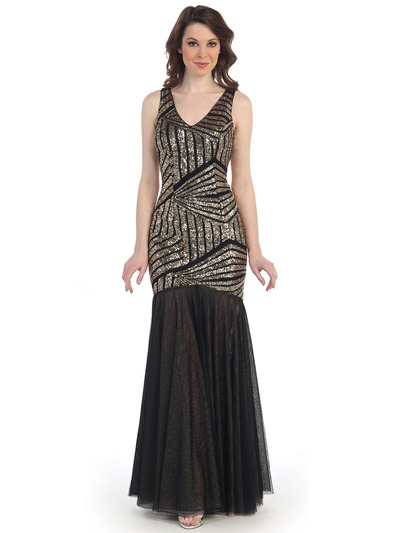CN1412 Sequin Mermaid Formal Dress - Gold Black, Front View Medium