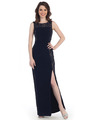 CN1414 Lace and Solid Chinese Dress - Navy Nude, Front View Thumbnail