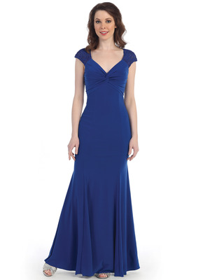 CN1416 Lace Cap Sleeve Evening Dress, Royal