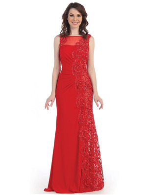 CN3010 Illusion Yoke Embroidery Evening Dress, Red