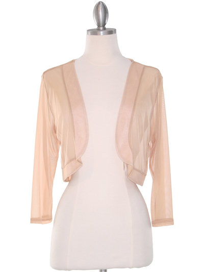 COT-758 3/4 Sleeve Sheer Bolero - Beige, Front View Medium