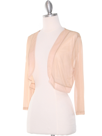 COT-758 3/4 Sleeve Sheer Bolero - Beige, Alt View Medium