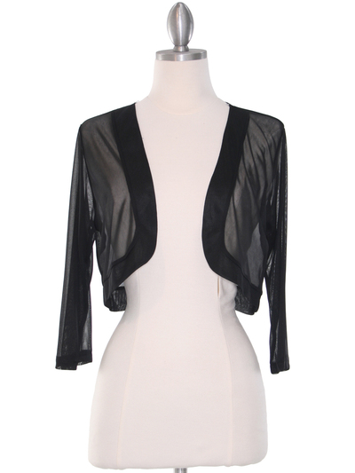 COT-758 3/4 Sleeve Sheer Bolero - Black, Front View Medium