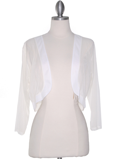 COT-758 3/4 Sleeve Sheer Bolero - Off White, Front View Medium
