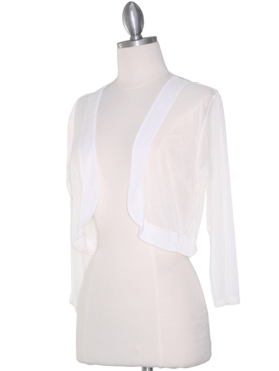 COT-758 3/4 Sleeve Sheer Bolero - Off White, Alt View Medium