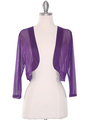 COT-758 3/4 Sleeve Sheer Bolero - Purple, Front View Thumbnail