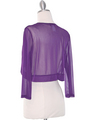 COT-758 3/4 Sleeve Sheer Bolero - Purple, Back View Thumbnail