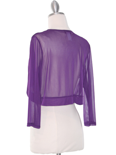 COT-758 3/4 Sleeve Sheer Bolero - Purple, Back View Medium