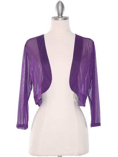 COT-758 3/4 Sleeve Sheer Bolero - Purple, Front View Medium