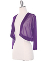 COT-758 3/4 Sleeve Sheer Bolero - Purple, Alt View Thumbnail