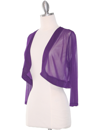 COT-758 3/4 Sleeve Sheer Bolero - Purple, Alt View Medium