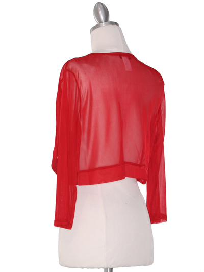 COT-758 3/4 Sleeve Sheer Bolero - Red, Back View Medium