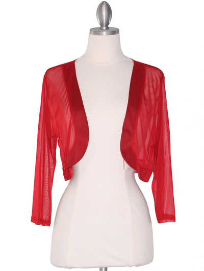 COT-758 3/4 Sleeve Sheer Bolero - Red, Front View Medium