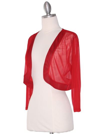 COT-758 3/4 Sleeve Sheer Bolero - Red, Alt View Medium