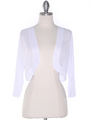 COT-758 3/4 Sleeve Sheer Bolero - White, Front View Thumbnail