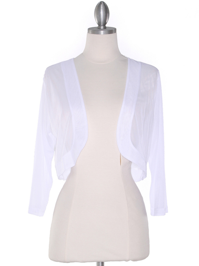 COT-758 3/4 Sleeve Sheer Bolero - White, Front View Medium