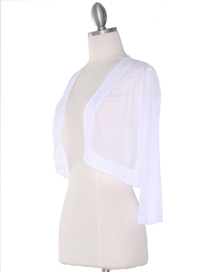 COT-758 3/4 Sleeve Sheer Bolero - White, Alt View Medium