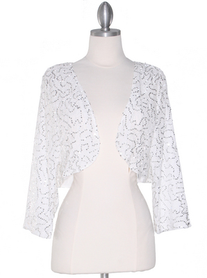 COTN-812 Off White Sequin Bolero , Off White