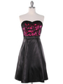 DPR1261 Floral Lace Bust Tea Length Dress - Fuschia, Front View Thumbnail