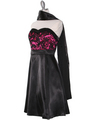 DPR1261 Floral Lace Bust Tea Length Dress - Fuschia, Alt View Thumbnail