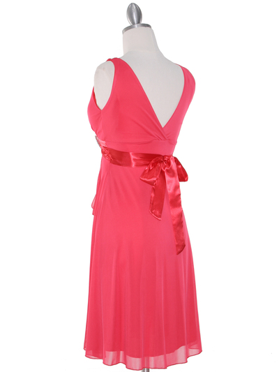 CP2069-D Missy Knit Cocktail Dress - Coral, Back View Medium
