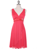 CP2069-D Missy Knit Cocktail Dress, Coral