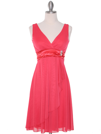 CP2069-D Missy Knit Cocktail Dress - Coral, Front View Medium