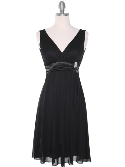 CP2069-D Missy Knit Cocktail Dress - Black, Front View Medium