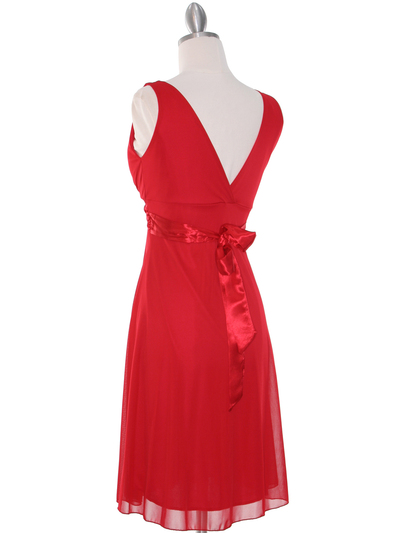 CP2069-D Missy Knit Cocktail Dress - Red, Back View Medium