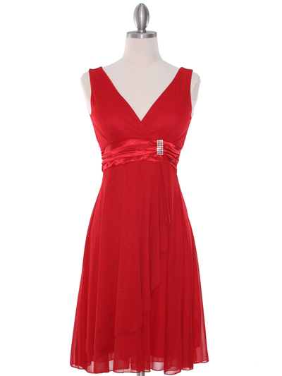 CP2069-D Missy Knit Cocktail Dress - Red, Front View Medium
