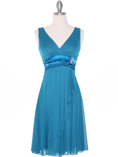 CP2069-D Missy Knit Cocktail Dress - Teal, Front View Medium