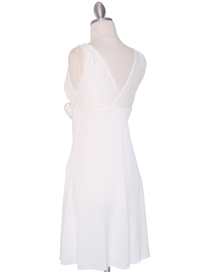 CP2134-D Lace Top Cocktail Dress - Off White, Back View Medium