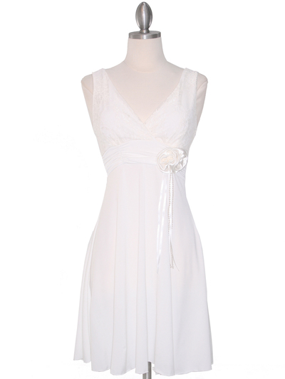 CP2134-D Lace Top Cocktail Dress - Off White, Front View Medium